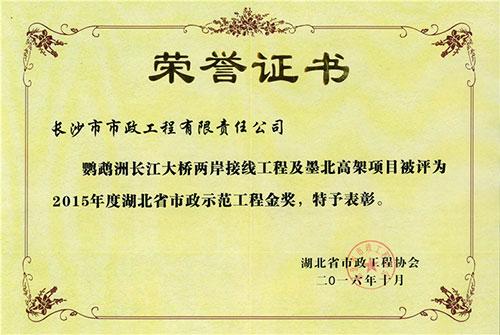 2015年度湖北省亚博体育官方网示范yabo01金奖